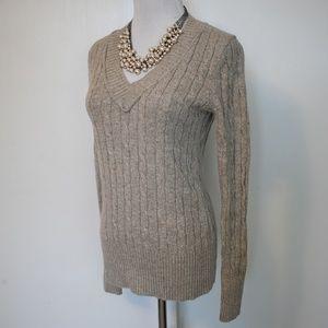 ANN TAYLOR LOFT Size Small V-Neck Sweater Beige